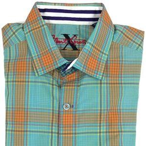 Robert Graham Short Sleeve Plaid Shirt Size Large